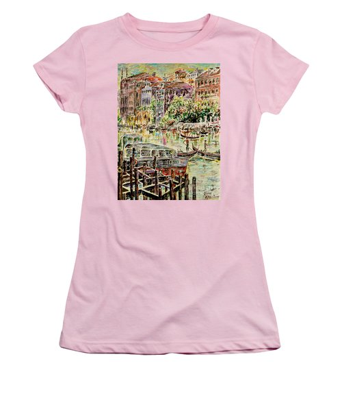 Women's T-Shirt (Junior Cut) featuring the painting Canale Grande by Alfred Motzer