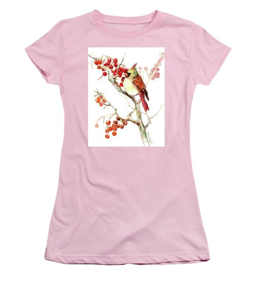 Cardinal Bird And Berries Women's T-Shirt (Junior Cut) by Suren Nersisyan