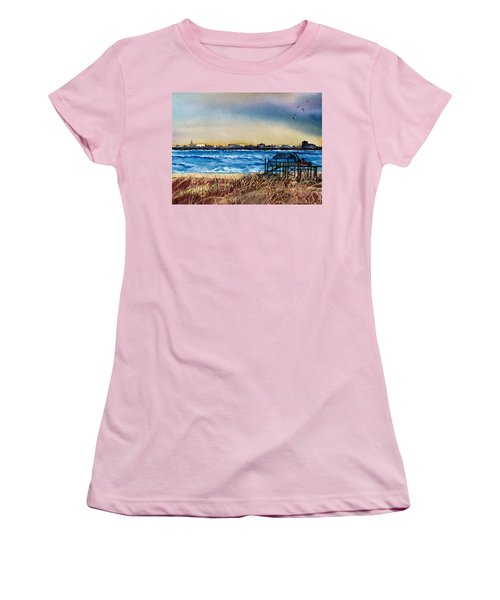 Women's T-Shirt (Junior Cut) featuring the painting Charleston At Sunset by Lil Taylor