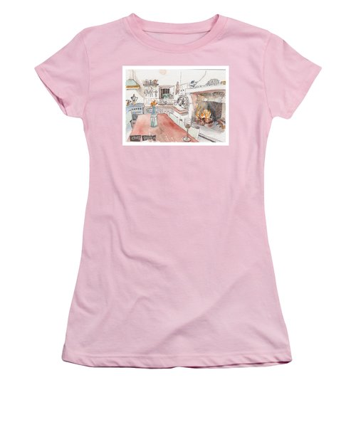 Women's T-Shirt (Junior Cut) featuring the painting Chez Gwen by Tilly Strauss