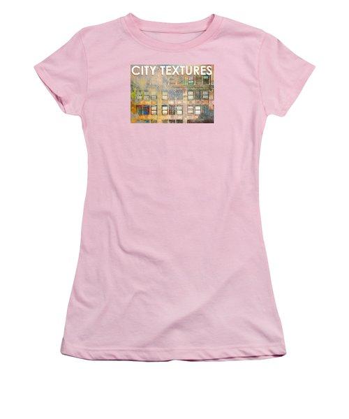 Women's T-Shirt (Junior Cut) featuring the mixed media City Textures Windows by John Fish