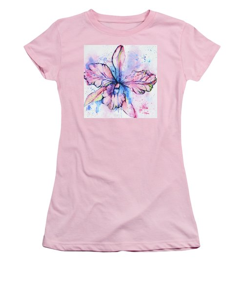Colorful Orchid Flower Women's T-Shirt (Athletic Fit)