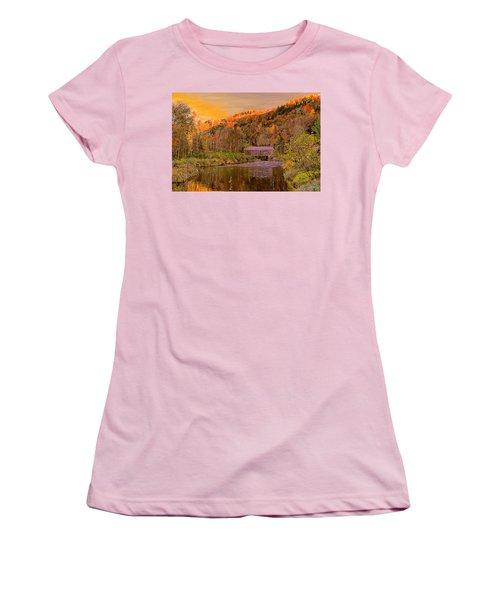 Women's T-Shirt (Junior Cut) featuring the digital art Comstock Bridge by John Selmer Sr