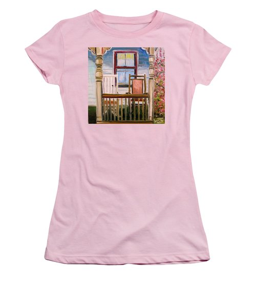 Women's T-Shirt (Junior Cut) featuring the painting Cottage Rockers by John Williams