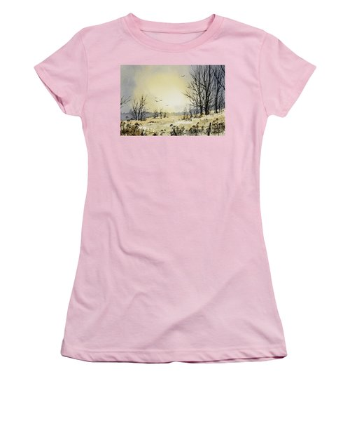 Women's T-Shirt (Junior Cut) featuring the painting Country Dawn by James Williamson