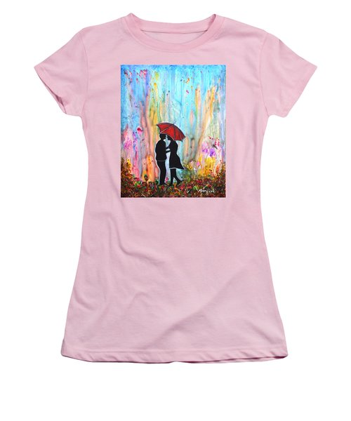 Couple On A Rainy Date Romantic Painting For Valentine Women's T-Shirt (Athletic Fit)