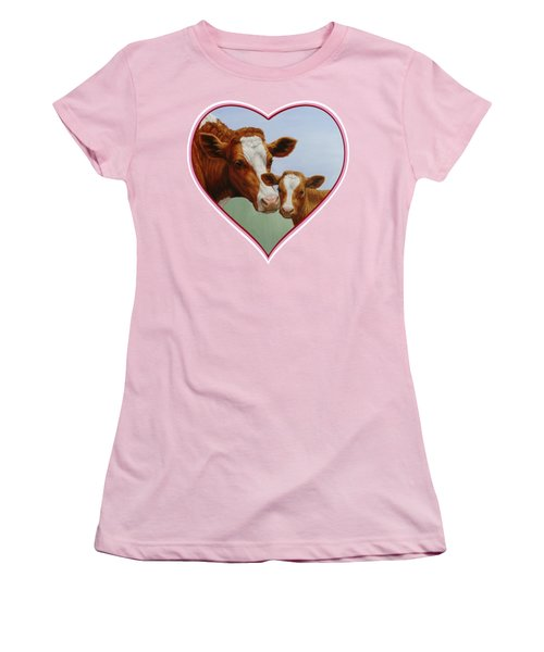 Cow And Calf Pink Heart Women's T-Shirt (Junior Cut) by Crista Forest