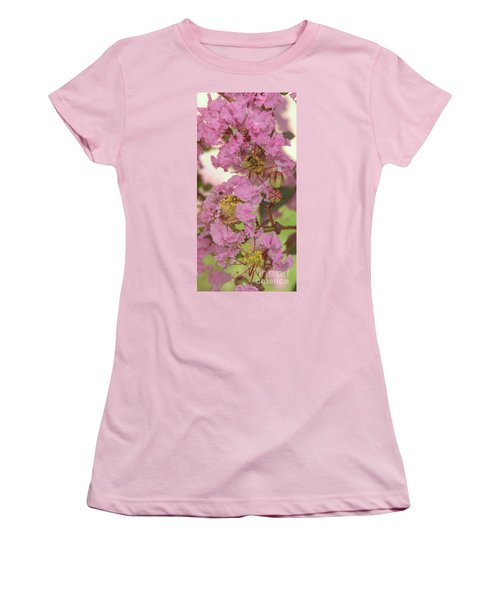 Crepe Myrtle And Bee Women's T-Shirt (Junior Cut) by Olga Hamilton