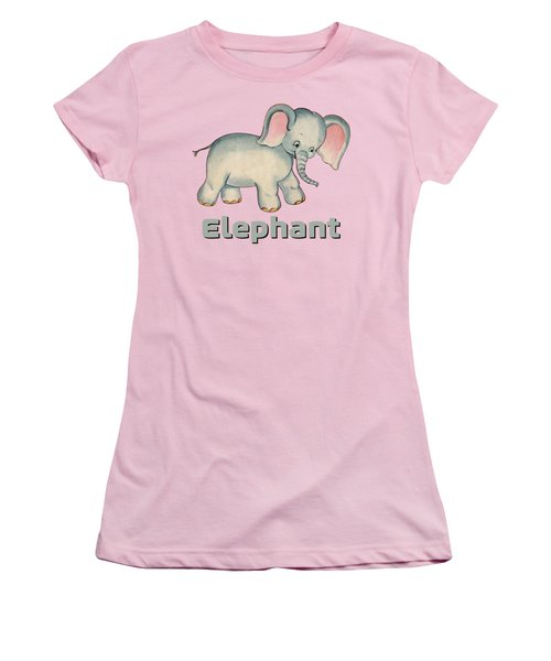 Cute Baby Elephant Pattern Vintage Illustration For Children Women's T-Shirt (Athletic Fit)