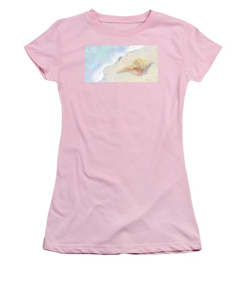 Women's T-Shirt (Athletic Fit) featuring the painting Dance Of The Sea - Australian Trumpet Shell Impressionstic by Audrey Jeanne Roberts