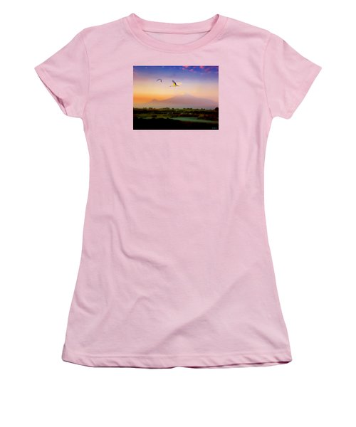 Dawn With Storks And Ararat From Night Train To Yerevan II Women's T-Shirt (Athletic Fit)