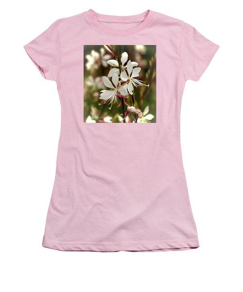 Delicate Gaura Flowers Women's T-Shirt (Junior Cut) by Joann Copeland-Paul