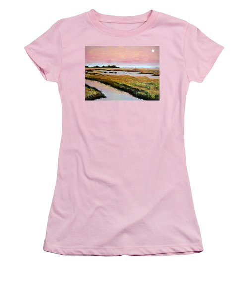 Women's T-Shirt (Junior Cut) featuring the painting Delta Sunrise by Suzanne McKee