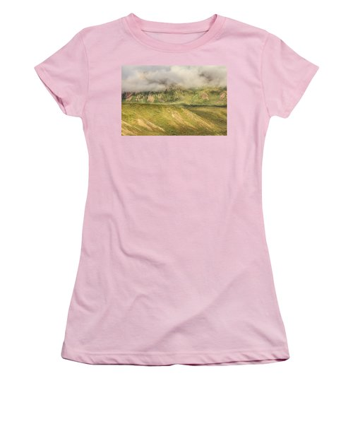 Denali National Park Mountain Under Clouds Women's T-Shirt (Athletic Fit)