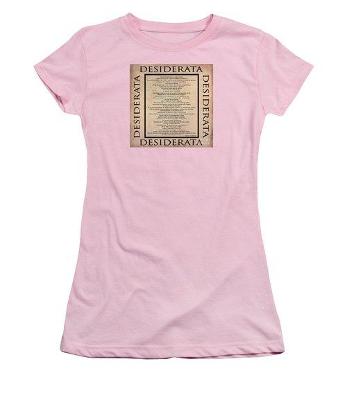 Desiderata - Spanish- Poema Escrito Por Max Ehrmann Women's T-Shirt (Junior Cut) by Claudia Ellis