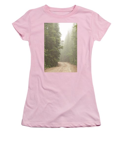 Women's T-Shirt (Athletic Fit) featuring the photograph Dirt Road Challenge Into The Mist by James BO Insogna