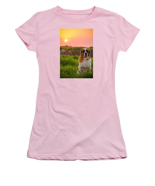 Dog And Sunset Women's T-Shirt (Athletic Fit)