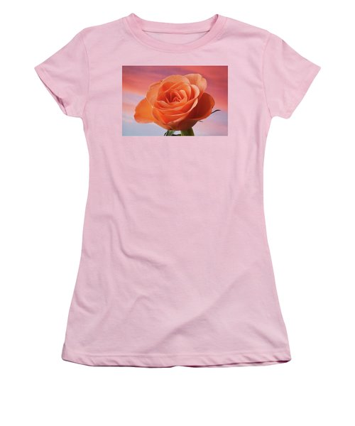 Women's T-Shirt (Junior Cut) featuring the photograph Evening Rose by Terence Davis