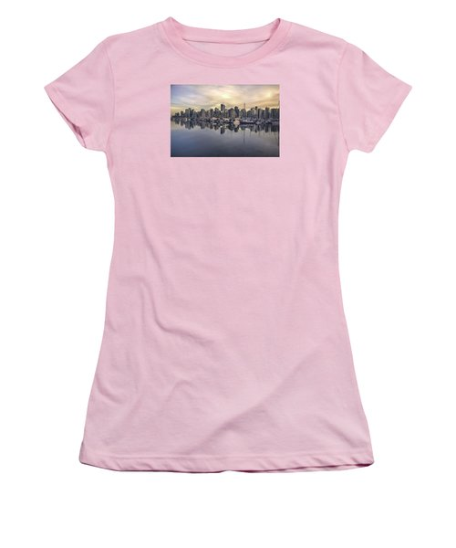 Fading Sun Over Downtown Vancouver Women's T-Shirt (Junior Cut) by Sabine Edrissi