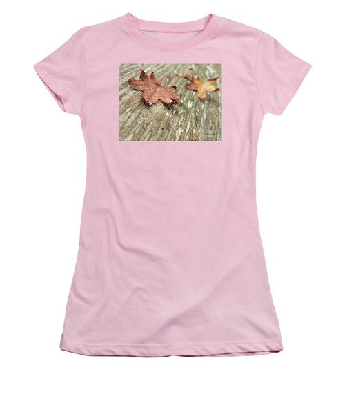 Women's T-Shirt (Athletic Fit) featuring the photograph Fallen Leaves by Peggy Hughes