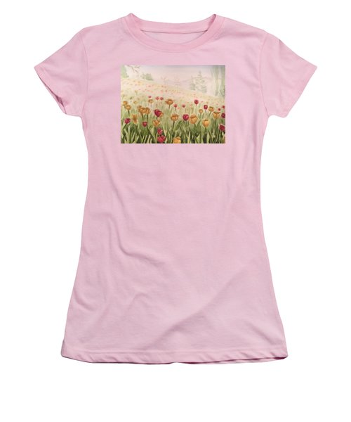 Field Of Tulips Women's T-Shirt (Junior Cut) by Kayla Jimenez