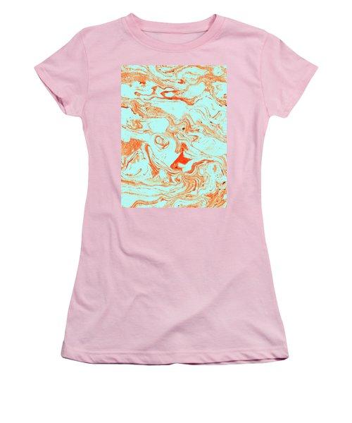 Flamingo And Sea Marble Women's T-Shirt (Junior Cut) by Uma Gokhale