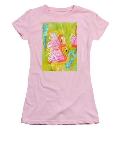 Women's T-Shirt (Athletic Fit) featuring the painting Flaunting Feathers by Judith Rhue