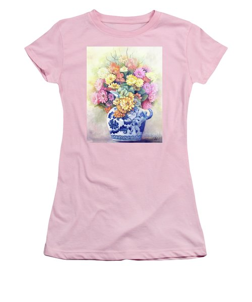 Women's T-Shirt (Athletic Fit) featuring the painting Floral Fusion by Marlene Book