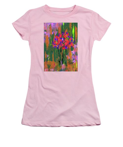 Women's T-Shirt (Junior Cut) featuring the painting Floral Impresions by P J Lewis