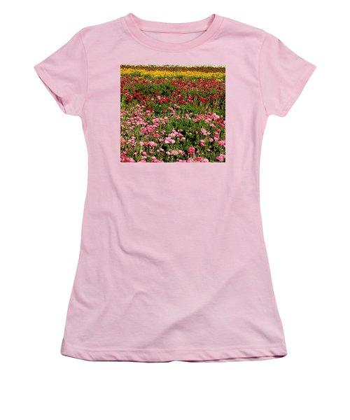 Women's T-Shirt (Junior Cut) featuring the photograph Flower Fields by Christopher Woods