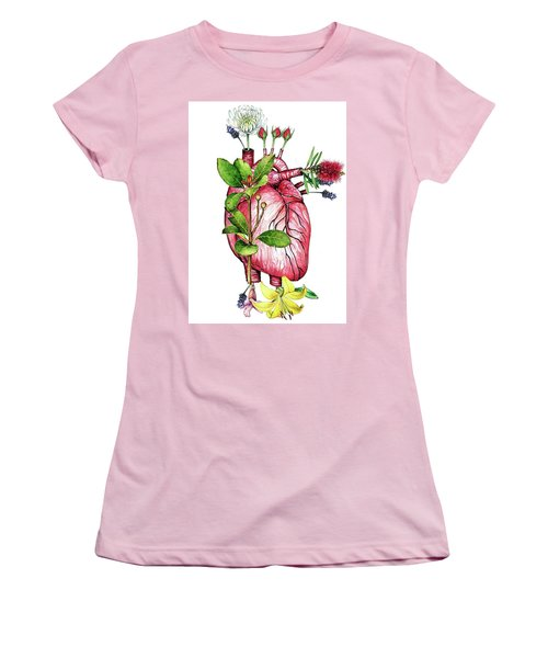 Flower Heart Women's T-Shirt (Athletic Fit)