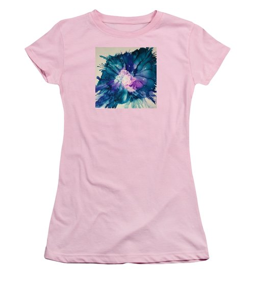 Women's T-Shirt (Junior Cut) featuring the painting Flower Power by Suzanne Canner