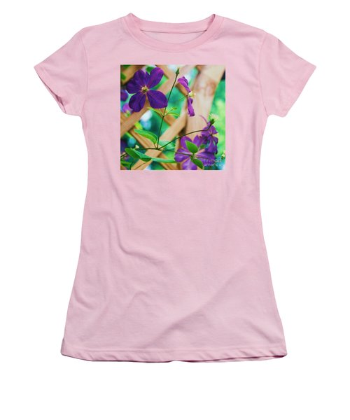Women's T-Shirt (Junior Cut) featuring the painting Flowers Purple by Eric  Schiabor