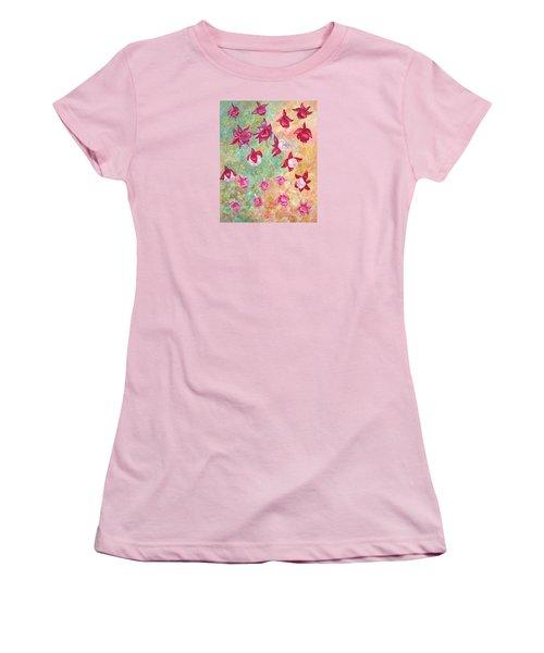 Women's T-Shirt (Junior Cut) featuring the painting Fuchsias by Elizabeth Lock