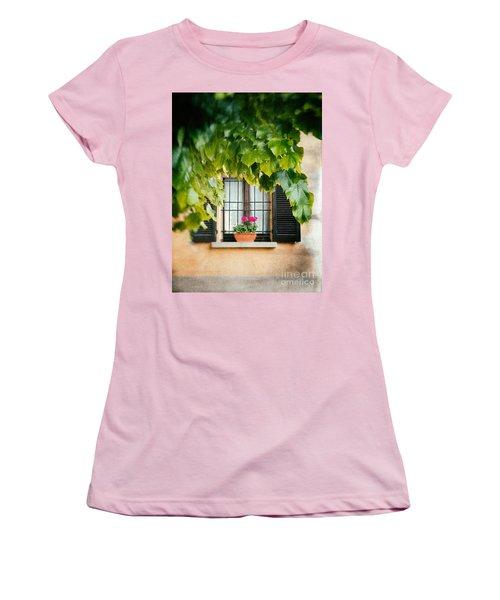 Women's T-Shirt (Junior Cut) featuring the photograph Geraniums On Windowsill by Silvia Ganora