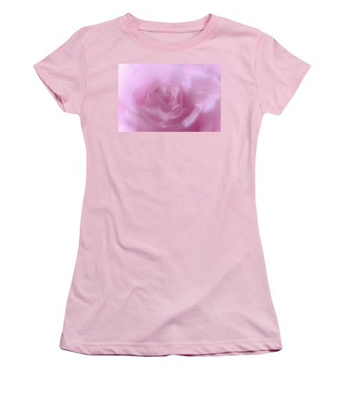 Women's T-Shirt (Junior Cut) featuring the photograph Glowing Pink Rose by Jenny Rainbow