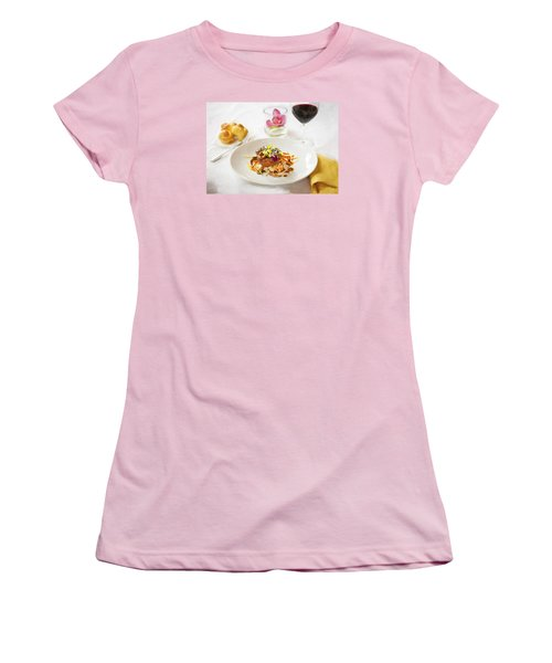 Good Eats Women's T-Shirt (Junior Cut) by Rich Franco