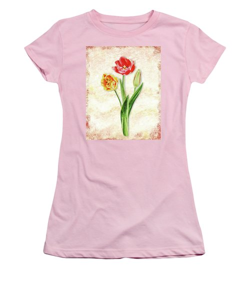 Women's T-Shirt (Athletic Fit) featuring the painting Graceful Watercolor Tulips by Irina Sztukowski