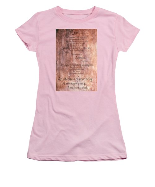 Women's T-Shirt (Junior Cut) featuring the mixed media Grief 1 by Angelina Vick