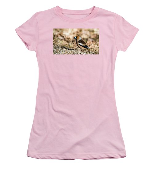 Women's T-Shirt (Junior Cut) featuring the photograph Hawfinch's Gaze by Torbjorn Swenelius
