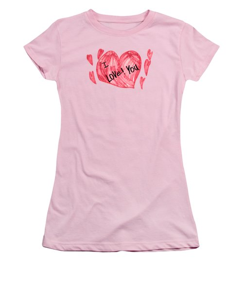 Hearts - I Love You Women's T-Shirt (Athletic Fit)