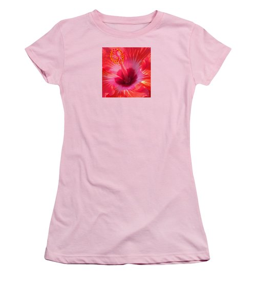 Hibiscus - Coral And Pink Square Women's T-Shirt (Junior Cut) by Kerri Ligatich