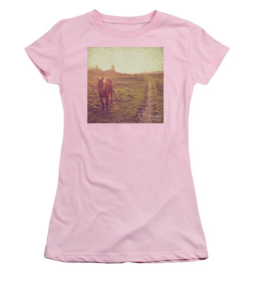 Women's T-Shirt (Junior Cut) featuring the photograph Horse by Lyn Randle
