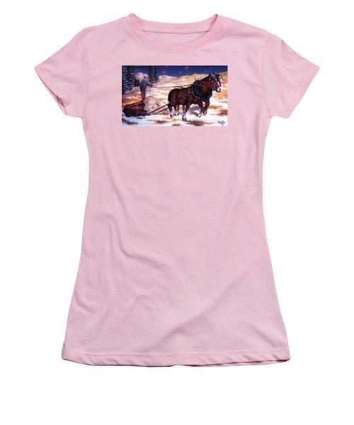 Horses Pulling Log Women's T-Shirt (Junior Cut) by Curtiss Shaffer