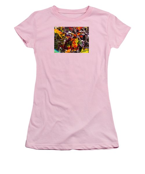 Women's T-Shirt (Junior Cut) featuring the photograph Hot Autumn Colors In The Vineyard 04 by Arik Baltinester
