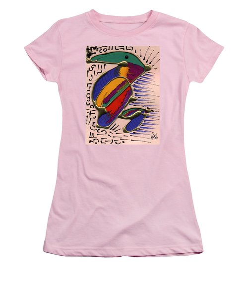 Women's T-Shirt (Junior Cut) featuring the painting If Only I Could Fly by Angela L Walker