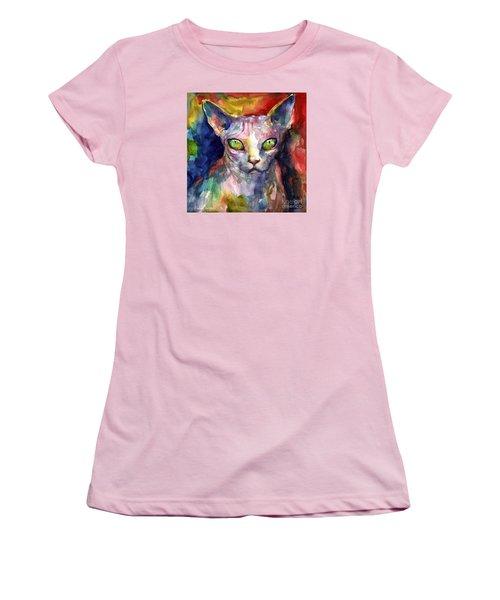 intense watercolor Sphinx cat painting Women's T-Shirt (Junior Cut) by Svetlana Novikova