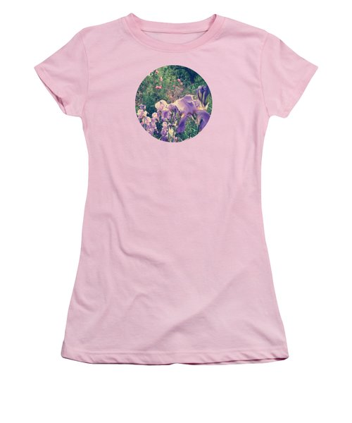 Irises And Roses In The Garden Women's T-Shirt (Junior Cut) by Mary Wolf