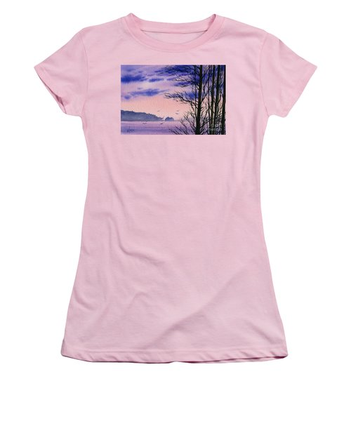 Women's T-Shirt (Junior Cut) featuring the painting Island Point by James Williamson