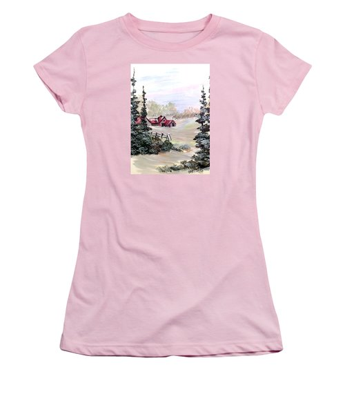 Women's T-Shirt (Junior Cut) featuring the painting It Is Winter - 3 by Dorothy Maier